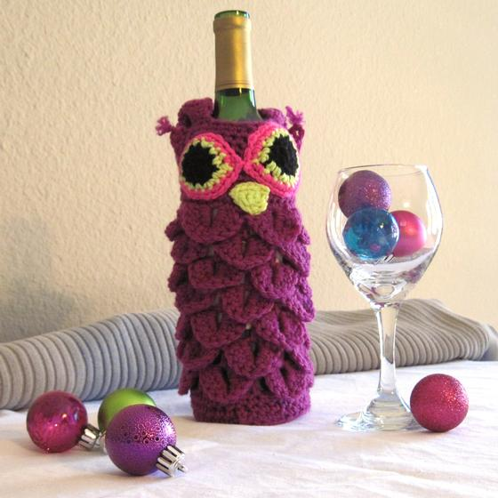 Free Crochet Pattern For Wine Bag : Owl Drink to That Wine Bag - Knitting Patterns and Crochet ...