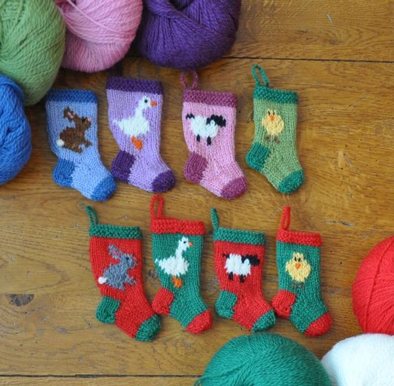 Easter and Farm Animals Stocking Ornaments Set - Knitting Patterns and Croche...