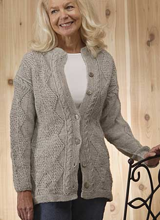 Aran Cardigan Knitting Patterns Free : January Aran Sweater Pattern - Knitting Patterns and Crochet Patterns from Kn...