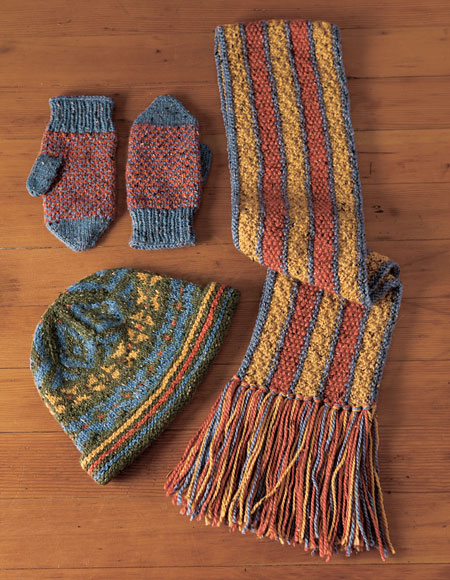 Stranded Knitting Patterns : Stranded Hat, Reversible Scarf and Helix Mittens - Knitting Patterns and Croc...