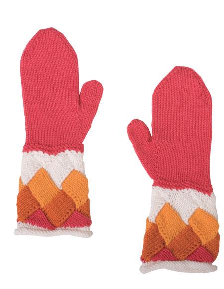 Entrelac Beret Knitting Pattern : Yvette Entrelac Beret & Mittens Pattern - Knitting Patterns and Crochet P...