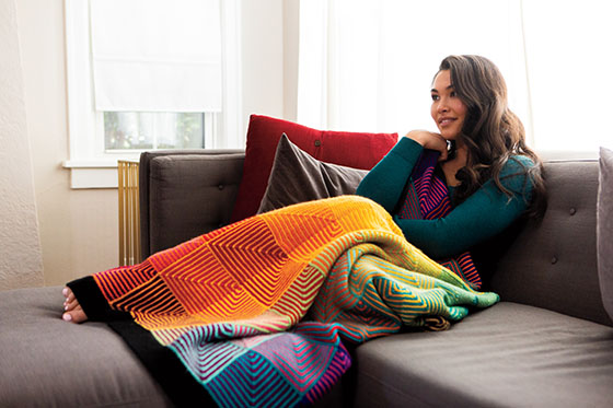 Free Knitting Pattern Mitered Afghan : Hue Shift Afghan Pattern - Knitting Patterns and Crochet ...