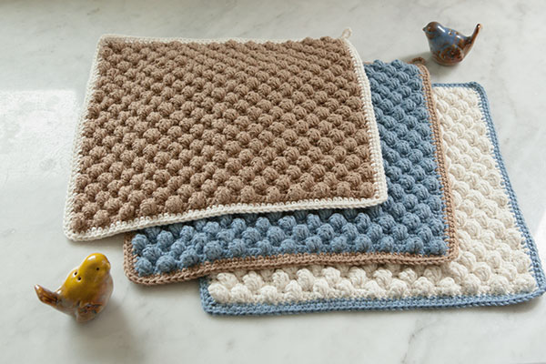 Bobble Crocheted Washcloth - Knitting Patterns and Crochet Patterns ...