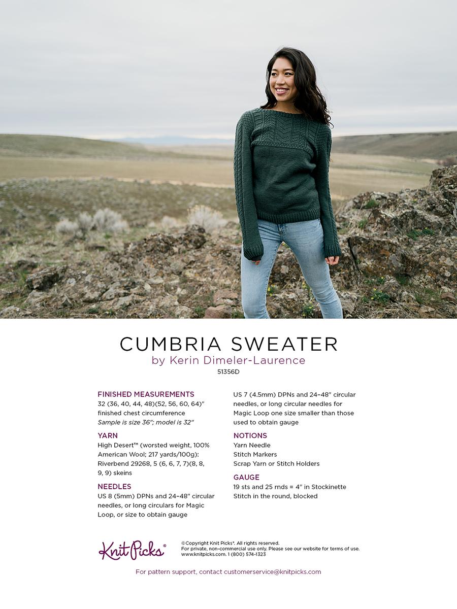 Cumbria Sweater - Knitting Patterns and Crochet Patterns from KnitPicks.com b...