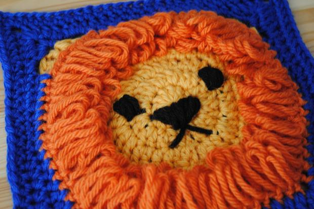Crochet 8 x 8 Lion Square - Knitting Patterns and Crochet Patterns ...
