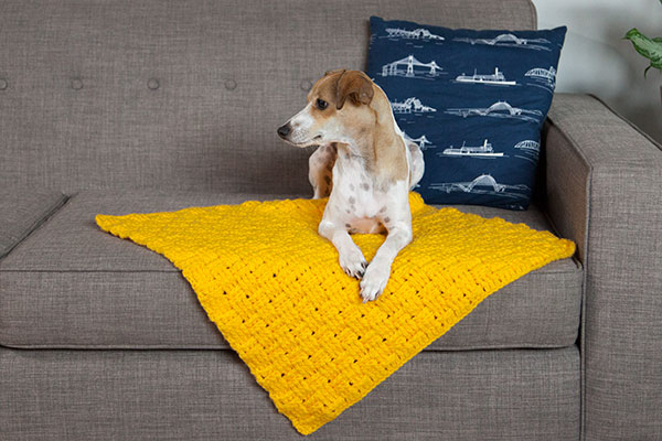 Free Knitting Pattern Dog Blanket : Comfort Crochet Pet Blanket - Knitting Patterns and Crochet Patterns from Kni...