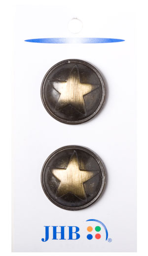 Polished Star Buttons - Brass