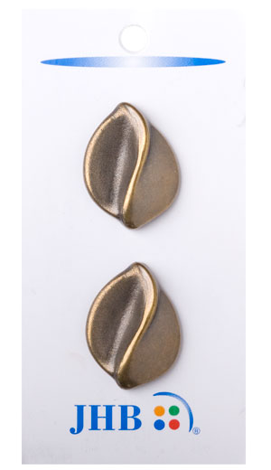Sculpted Leaf Buttons - Brass