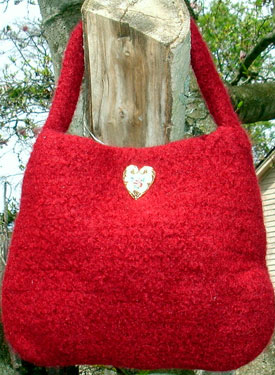 Lady In Red Felted Crochet Evening Bag