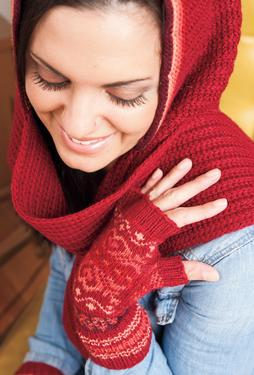Lunaria Hooded Scarf & Mitts Set