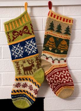 Mix-It-Up Christmas Stranded Stocking Pattern - Knitting Patterns and Crochet...