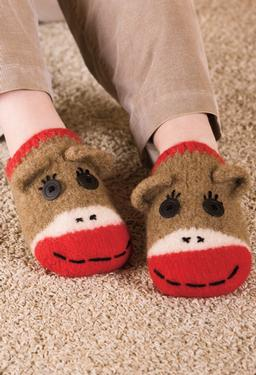 Sock Monkey Slippers - Knitting Patterns and Crochet Patterns from KnitPicks.com