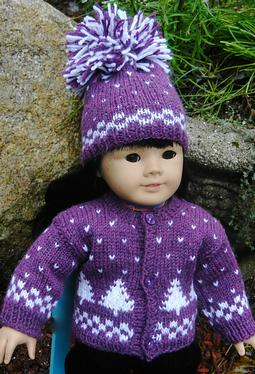 Winter Pines Doll Sweater & Hat