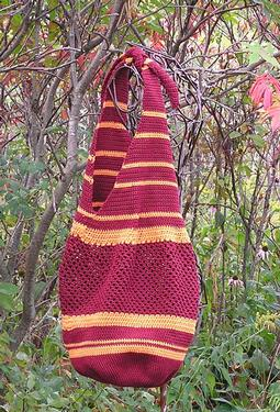 Two Color Striped Crocheted Carry-All