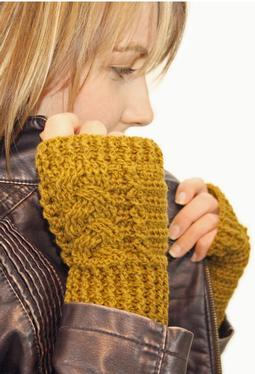 Crochet Braided Fingerless Mitts