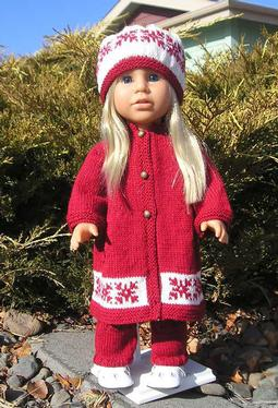 Nordic Star Coat, Hat & Legwarmers for Dolls