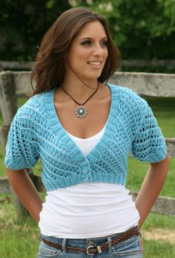 Summer Blues Cropped Lace Cardigan