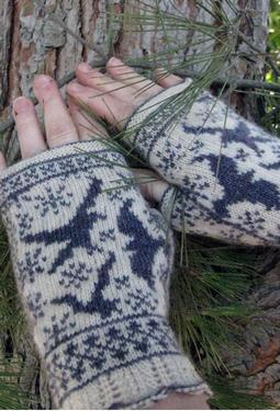 Ravens in Snow Fingerless Mitts