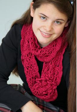 Crochet Corsage Infinity Scarf or Shoulder Wrap