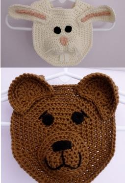 Forest Friends Crochet Bibs-Bear and Bunny