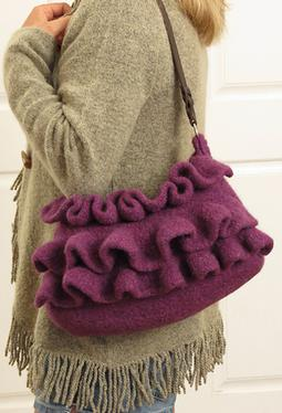Amethyst Ruffle Felted Purse