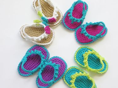 Flip Flops for Baby Girls Crochet Pattern