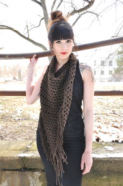 Fringed Triangle Crochet Scarf Pattern