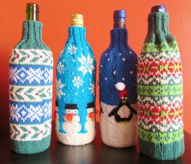 Holiday Wine Bottle Sweaters - Knitting Patterns