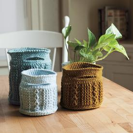 Crochet Cable Baskets