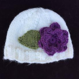 Bulky Knit Flower Hat