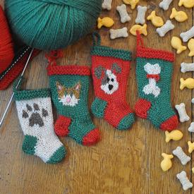 Dog and Cat Knitted Christmas Stocking Ornaments