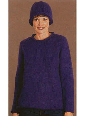 Roll-Neck Raglan Pullover with Hat Pattern