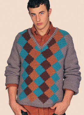 Finale Argyle Crocheted Pullover Pattern