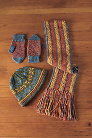 Stranded Hat, Reversible Scarf and Helix Mittens