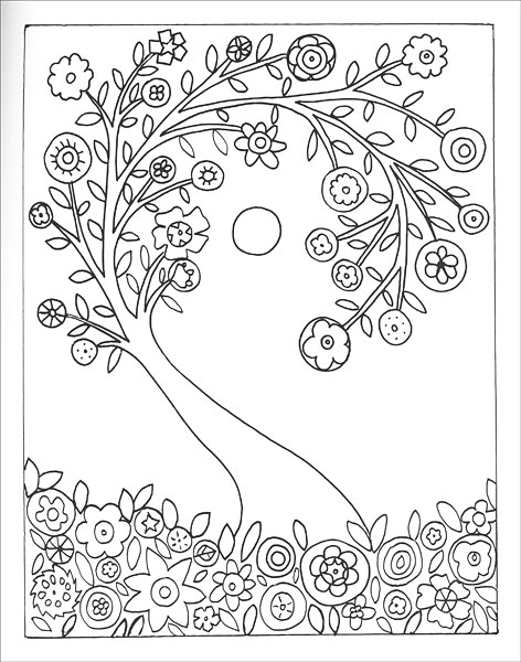 Fanciful folk art coloring book from for Folk art coloring pages
