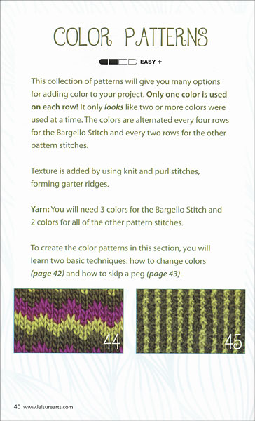 Loom Knit Stitch Dictionary from KnitPicks.com Knitting by Kathy Norris