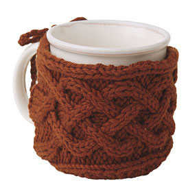 Knit Koozie Pattern : Cabled Mug Cozy Pattern - Knitting Patterns and Crochet Patterns from KnitPic...