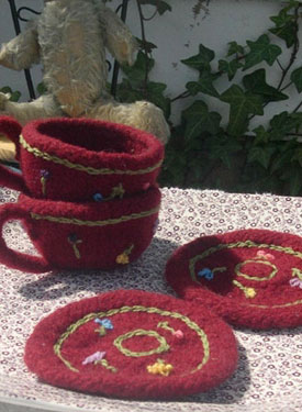 Knitted/Felted Teacup & Saucer