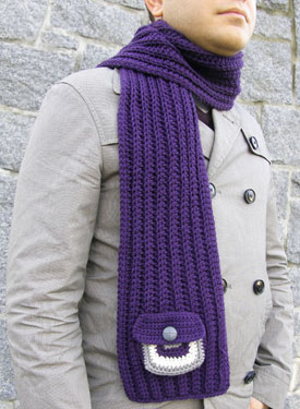 Inuvik Crochet Scarf Free Crochet pattern for scarf with pocket