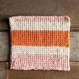 Sherbet Tunisian Crochet Dishcloth