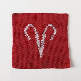 Aries Zodiac Crochet Dishcloth