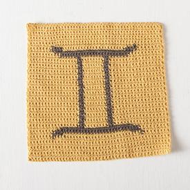 Gemini Zodiac Crochet Dishcloth