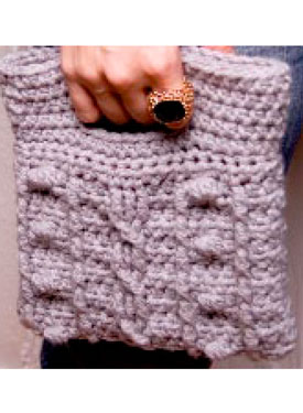 Cabled Bobble Clutch Pattern