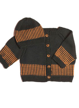 Striped Cardi & Matching Beanie or Beret Pattern