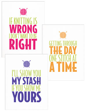 Knitting Humor Set 2 Note Cards