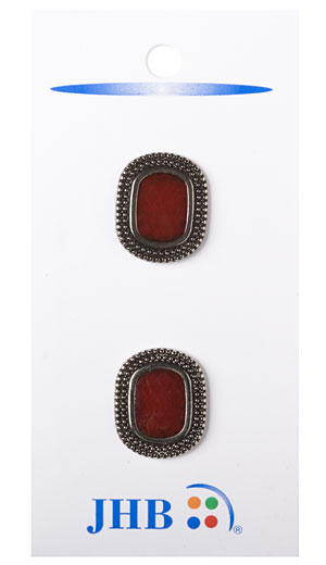 Rimmer Button - Dark Red/Silver