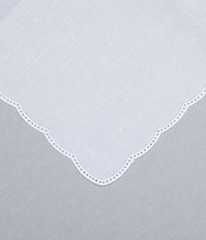 Cotton Handkerchief - Scalloped Edge