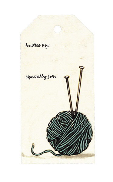 Yarn Ball with Needles Gift Tag
