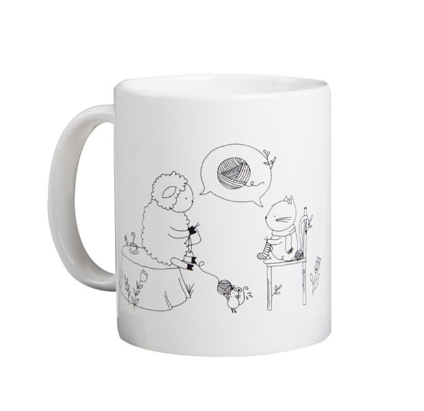 KnitPicks Mug - Sheep & Kitten