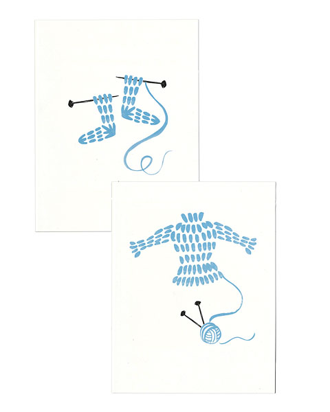 Knitted Sock & Sweater Note Cards - Blue